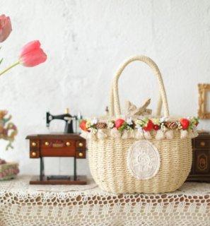 かごバッグ いちご ストロベリー SweetDreamer バッグ かばん 手提げバッグ トートバッグ フリンジ 春夏 フリーサイズ おしゃれ かわいい 甘ロリ 森ガール 撮影 おでかけ デート