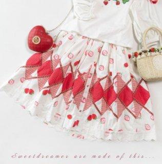 スイートベリー スカート 70cm SweetDreamer 甘ロリ 森ガール メイド メイド風 いちご レース ミディアム ひざ丈 フレア ボタン プリント ウエストゴム フリーサイズ