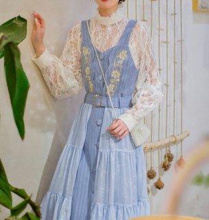 ジャンパースカート フレア 春夏 花柄 ミディアム ふんわり ひざ丈 ボタン エレガント 大人 かわいい きれいめ レイヤード 大きいサイズ サイズ豊富 おでかけ お呼ばれ デート セミロリータ