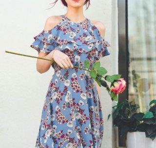 【納期30日】オフショルダーワンピース 春夏 ケープ風 ティアードフリル フレア ロング ミディアム フラワープリント 花柄 ドレス エレガント 大きいサイズ サイズ豊富 セミロリータ