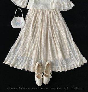 レーススカート Sweet Dreamer 70cm丈 ひざ丈 ふんわり フレア ガーリー 甘ロリ クラシカル クラロリ お嬢様 姫ロリ エレガント 上品 フェミニン ウエストゴム かわいい らくちん