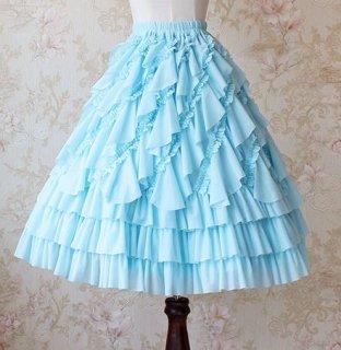 ミドル丈 フリル シフォン ペチコート 5色 インナースカート フリル フレア かわいい ミニ丈 美脚 ボリュームアップ 甘ロリ メイド風 メイド ドレスアップ 撮影 イベント おでかけ デート