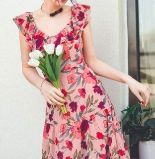 フラワーワンピース 春夏 ピンク ロング ノースリーブ フレア 切り替え 総柄 プリント おしゃれ 華やか かわいい 大人 ふんわり ドレス デート お呼ばれ 二次会 イベント 撮影 おでかけ セミロ