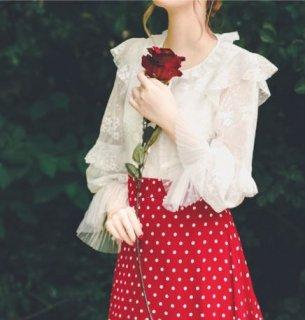 デザインブラウス 春夏 長袖 ボリューム袖 フリル かわいい キャンディスリーブ 大人ラブリー エレガント きれいめ 上品 クラシカル お嬢様 お姫様 おしゃれ 華やか セミロリータ