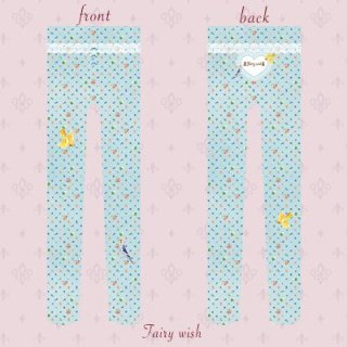 花柄オカメインコタイツ3色 ブルー ベージュ ピンク FW1306