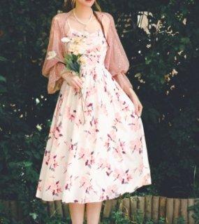フラワーワンピース 春夏 ドレス ミディアム ロング ひざ下丈 キャミワンピース ノースリーブ リゾート 海 レイヤード フレア 花柄 フラワー 大きいサイズ サイズ豊富 おでかけ お呼ばれ デート