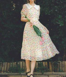 フラワーワンピース 春夏 ドレス ミディアム ロング ひざ下丈 半袖 レディライク キュート 華やか フレア 花柄 フラワー 大きいサイズ サイズ豊富 おでかけ お呼ばれ デート 上品 エレガント セ