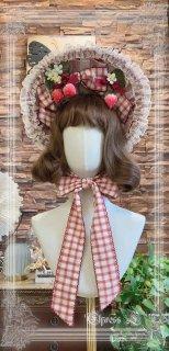 スイート ストロベリー ボンネット 4色 帽子 ヘッドドレス アクセサリー いちご ストロベリー ベリー ヘアアクセサリー リボン フリル かわいい クラシカル クラロリ 雑貨 小物 上品