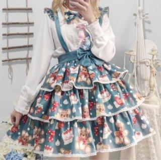 いちご ベアー サロペットスカート 2色 春夏 スカートのみ 通年 レイヤード グリーン イエロー 大きいサイズ サイズ豊富 くま くまちゃん テディベア ベア 甘ロリ カジュアル メイド