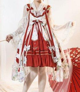 重ね着風 ジャンスカ 3色 春夏 ドレス 華ロリ 中国風 チャイナドレス かわいい フレア ミディアム ひざ丈 大きいサイズ サイズ豊富 リボン 上品 エレガント 撮影 イベント