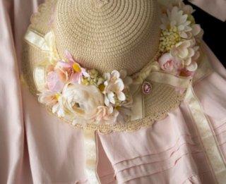 麦わら帽子 SweetDreamer ストローハット お花 花冠 フラワー モチーフ かわいい 華やか 甘ロリ お嬢様 森ガール おしゃれ ハット 帽子 ヘッドドレス 雑貨 小物 ゴスロリ
