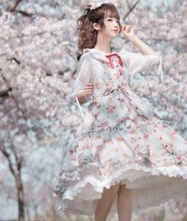 りんご柄 ジャンパースカート 3色 NyaNya 春夏 JSK リンゴ プリント レイヤード風 ふんわり フレア ミディアム ひざ丈 ひざ下丈 かわいい 甘ロリ 森ガール メイド メイド風 上品