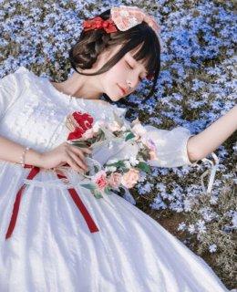 フリルワンピース Nya Nya 春夏 ワンピース ワンピ ドレス ロング ミディアム ミモレ丈 ひざ下丈 五分袖 ふんわり ワンピースのみ 甘ロリ 姫ロリ 森ガール かわいい お嬢様 上品