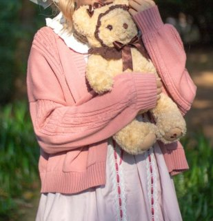 カーディガン 6色 春秋 甘ロリ ケーブル編み 長袖 ニット ショート丈 ミディアム丈 おしゃれ ふんわり かわいい 大きいサイズ ゆったり 羽織り 温度調節 おでかけ デート フェミニン