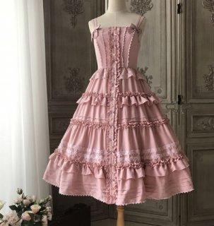 ジャンパースカート 春夏 ロング ミディアム ひざ下丈 ピンク フリル ノースリーブ 甘ロリ ガーリー 姫ロリ お嬢様 プリンセス 大きいサイズ レイヤード リボン かわいい おしゃれ ドレス