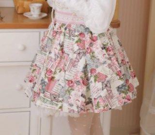 ローズプリント ミニスカート 春夏 ミニ ショート丈 フレア ピンク かわいい ボトムス 着回し 華やか クラシカル クラロリ お嬢様 上品 大きいサイズ サイズ豊富
