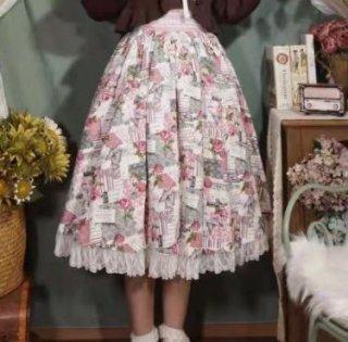 ローズプリントスカート 春夏 ミニ ショート丈 フレア ピンク かわいい ボトムス 着回し 華やか クラシカル クラロリ お嬢様 上品 大きいサイズ サイズ豊富 ゴスロリ ロリータファッション