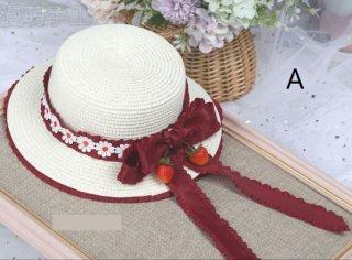 麦わら帽子 3デザイン 春夏 クラシカル クラロリ 上品 帽子 ストローハット レース リボン かわいい 姫ロリ 森ガール ヘッドドレス ヘアアクセサリー 雑貨 小物 Lolita ロリィタ ゴスロリ