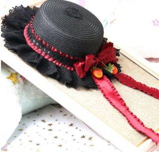 麦わら帽子 春夏 いちご ベリー ストロベリー クラシカル クラロリ 上品 帽子 ストローハット レース リボン かわいい 姫ロリ 森ガール ヘッドドレス ヘアアクセサリー 雑貨 小物 Lolita
