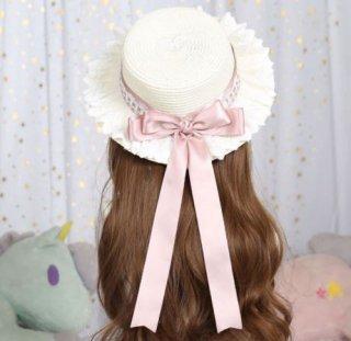 麦わら帽子 春夏 甘ロリ クラシカル クラロリ 上品 ピンク 帽子 ストローハット レース リボン かわいい 姫ロリ 森ガール ヘッドドレス ヘアアクセサリー 雑貨 小物 Lolita ロリィタ