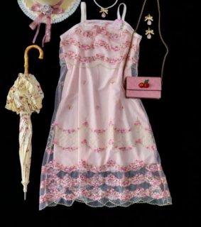 キャミワンピース SweetDreamer キャミワンピ ワンピ ドレス チュール フラワー 小花柄 刺しゅう 花柄 甘ロリ パーティ イベント お呼ばれ 発表会 華やか ピンク かわいい ゴスロリ