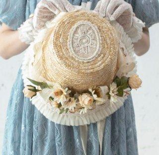 麦わら帽子 SweetDreamer リボン ストローハット フラワー お花モチーフ クラシカル 甘ロリ クラロリ お嬢様 春夏 雑貨 小物 ヘッドドレス 帽子 かわいい ナチュラル ワンサイズ