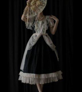 スズラン デザイン 半袖 ワンピース SweetDreamer 春夏 チュール ロング フレア ウエストマーク リボン かわいい ドレス ブラック パーティ 結婚式 ウエディング 二次会