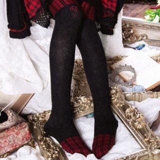 ニーハイソックス チェック 切り替え ロング ソックス 靴下 カジュアル Lolita ロリィタ かわいい 雑貨 小物 フリーサイズ おしゃれ ガーリー パンク ゴスロリ ロリータファッション