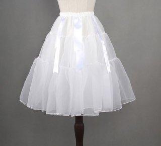 シフォン リボンパニエ 2色 通年 インナースカート ふんわり ショート ショート丈 ひざ上丈 リボン ボリュームアップ おしゃれ ウエストゴム かわいい 甘ロリ クラロリ ゴシック クラシカル