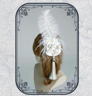 ヘアクリップ 髪飾り 華ロリ 中国風 チャイナ ホワイト エレガント 羽根 ウィング ボリューム 雑貨 小物 ヘッドドレス ヘアアクセサリー おしゃれ きれいめ 撮影 イベント パーティ お呼ばれ