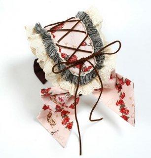 リボンカチューシャ 4色 ヘッドドレス カチューシャ KC レースアップ 花柄 フラワー 雑貨 小物 ヘアアクセサリー フリル ボリューム フリーサイズ クラシカル クラロリ 姫ロリ かわいい