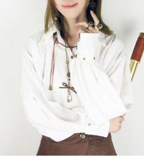 ロリータ シャツ ブラウス steampunk カジュアル ゴスロリ ホワイト 長袖 ゆったり ボタン 襟付き 春夏 ロリータファッション