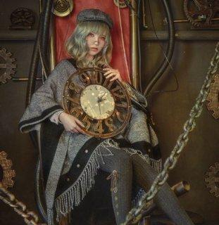 ロリータ ケープ マント steampunk グレー フリンジ 秋冬 春 ヘリンボーン 肩掛け クラシカル ロリータファッション