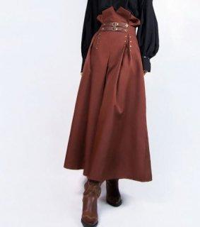 ロリータ スカート steampunk ブラウン ロング ハイウエスト 春 ロング ペンシル スタッズ ゴスロリ ロリータファッション