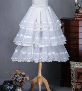 オーガンジー パニエ 2色 クラシカル クラロリ 甘ロリ ふんわり ミディアム ひざ丈 3段フリル ウエストゴム チュール ボリューム ホワイト ブラック レース フリーサイズ インナースカート