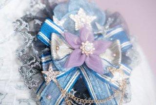 星座 ヘアクリップ 通年 ブルー クラシカル クラロリ 甘ロリ キラキラ ビジュー イミテーションパール 星 スター お花 フラワー ボリューム リボン チェーン ヘッドドレス アクセサリー 雑貨