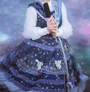 星座 ジャンスカ 通年 ミディアム丈 ミモレ丈 フリル ティアード ドレス ネイビー 宇宙 星 リボン 大きいサイズ ワンピ ワンピース ふんわり フレア JSKのみ ゴスロリ ロリータ
