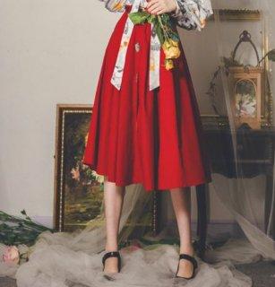 ミディアムスカート 秋冬 クリスマス レッド ひざ丈 フレア Aライン かわいい 装飾 パッチワーク おしゃれ 美シルエット 大人 ガーリー 着回し ボトムス エレガント おでかけ 上品 デート お呼
