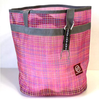 メッシュプールバッグ 格子ピンク