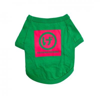 犬服ドッグウェア まるげロゴ(緑色地×ピンクプリント)