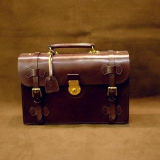 形状から探す イングリッシュブライドルレザーバッグ ショルダーベルト付 ダークブラウン