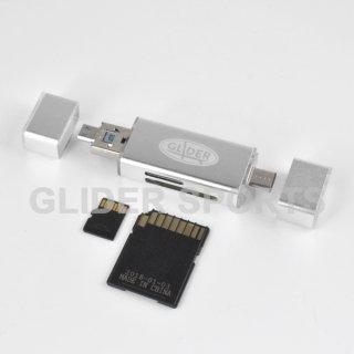 【送料無料】カードリーダー 銀 MicroSD/SDカード Type-C&A USB MicroUSB対応 カメラ/Android/PC用 GLD9825MJ30SL