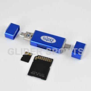 【送料無料】カードリーダー 青 MicroSD/SDカード Type-C&A USB MicroUSB対応 カメラ/Android/PC用 GLD9849MJ32BL