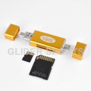 【送料無料】カードリーダー 金 MicroSD/SDカード Type-C&A USB MicroUSB対応 カメラ/Android/PC用 GLD9832MJ31GL