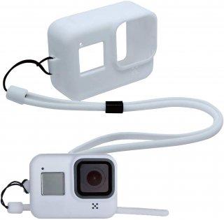GoPro(ゴープロ)用 HERO8Black対応 アクセサリー シリコンケース 白 シリコンカバー ストラップ付き GLD3914MJ09