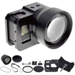 GoPro(ゴープロ)用 HERO8Black対応 アクセサリー 望遠レンズ セット アルミ製フレーム付き ズームレンズ GLD4126MJ21