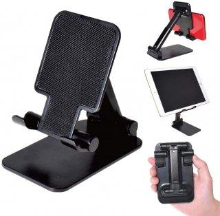 スマートフォン用 コンパクト スマホスタンド 黒  角度調整 スマホホルダー テレワーク 動画視聴 卓上スタンド タブレットスタンド GLD4348MJ37