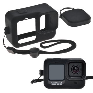 GoPro(ゴープロ)用 HERO9Black対応 アクセサリー シリコンケース セット 黒 シリコンカバー レンズカバー・ストラップ付き GLD4935MJ106BK