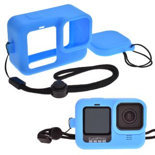 GoPro(ゴープロ)用 HERO10Black/HERO9Black対応 シリコンケース セット 青 シリコンカバー レンズカバー・ストラップ付き GLD4942MJ106BL