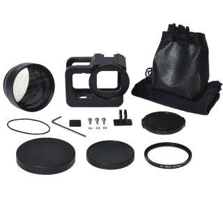 GoPro(ゴープロ)用 HERO10Black/HERO9Black対応 アクセサリー 望遠レンズ セット アルミ製フレーム UVカットレンズ付き GLD5222MJ130